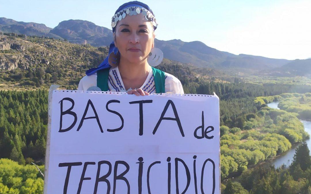 Moira Millán sosteniendo un cartel con el mensaje, basta de terricidio