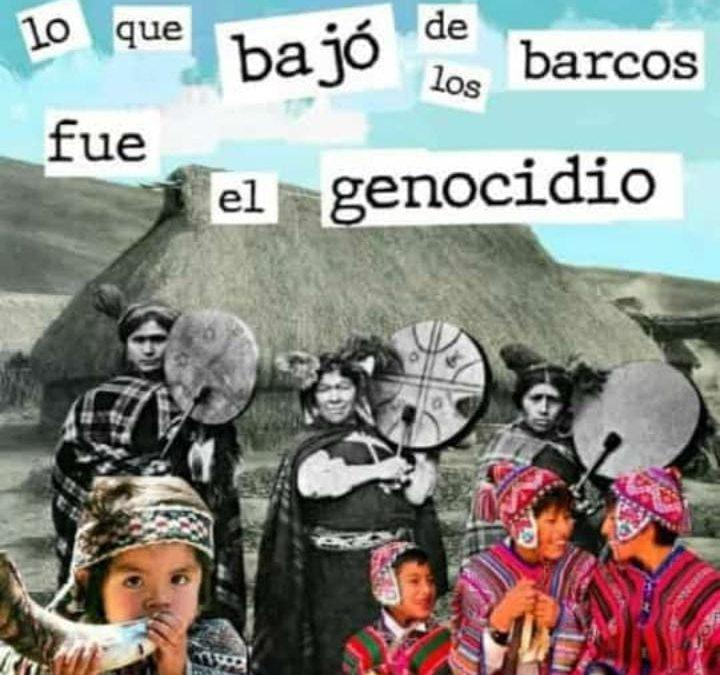 collage con la frase, lo que bajó de los barcos fue genocidio